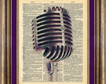 Microphone Vintage Dictionary Page Print Up Cycled