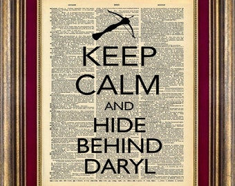 ZOMBIE Walking Dead Daryl Keep Calm Vintage Book Page print: Daryl Zombies Unique gift Dictionary page art print up cycled