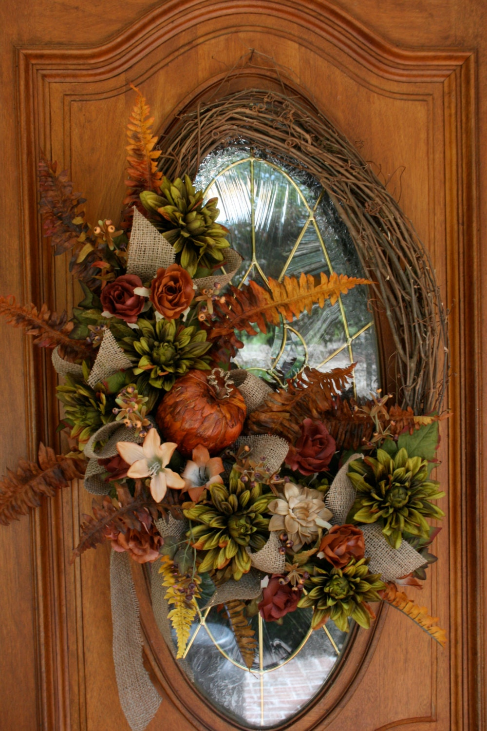 Large fall wreath traditional colors Fall autumn door wreaths