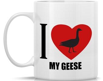 Homestead Geese Coffee Mug - I Heart My Geese: 11-oz. Porcelain Mug - Farm Animal Theme with Goose