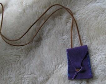 purple suede stash pouch necklace