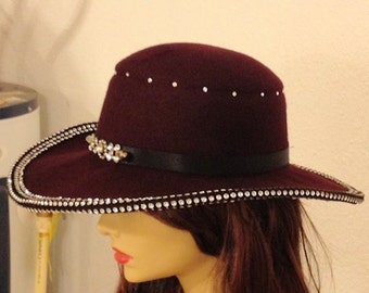 Maroon Bling Hand Felted Hat