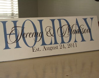 Personalized Family Name Sign Established Plaque Painted Wall Sign - Great Chirstmas Gift