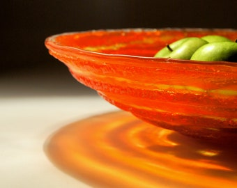 Fruit Bowl - The Red Swirl - 36 to 37cm diameter - Fused Glass Feature