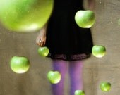 La Collectionneuse 8x8 Conceptual Photograph. girl, woman, dark art, surreal photo, green apples, black purple