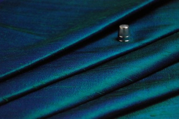 tissu de soie doupion indien 100 soie bleu canard. Black Bedroom Furniture Sets. Home Design Ideas