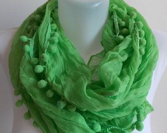 SAHRASCARF/ Green Scarf Lace pom pom Scarf WomenScarf Soft Shawl Cowl Scarf