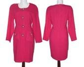 vintage 1980's Fuschia Ann Taylor wiggle Dress, Size 8