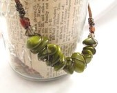 Green Wirewrapped Necklace | Boho | Olive Green | Spring 2014 | Chinese Marble Jewelry | Brown Suede | Ready to Ship | twenty inch length