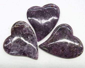 35x45mm Lepidolite Slanting Heart Gemstone Pendant Bead-