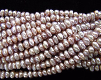 4-5mm Button Purple Freshwater Pearl 15 inches length, 38 cm  Lot 5pieces-