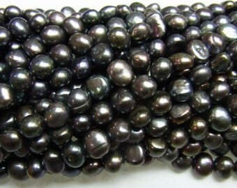 4-5mm Nugget Black Freshwater Pearl 15 inches length, 38 cm -