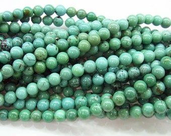 4mm Round Turquoise Beads Genuine Natural A Grade- 4244 - 15''L 38cm Loose Beads Semiprecious Gemstone Bead   Supply