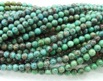 5mm Round Turquoise Beads Genuine Natural B Grade- 4246- 15''L 38cm Loose Beads Semiprecious Gemstone Bead   Supply