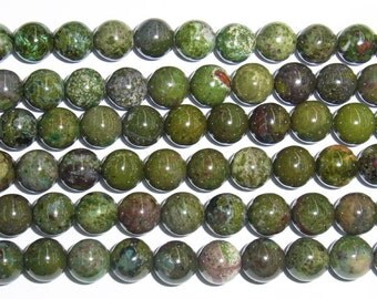 6mm Round Green Forest Jasper Beads Genuine Natural 15''L 38cm Loose Beads Semiprecious Gemstone Bead   Supply