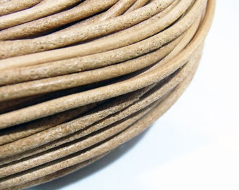 2mm Genuine Leather Cord Natural String - 3649 - Wholesale Leather Cord