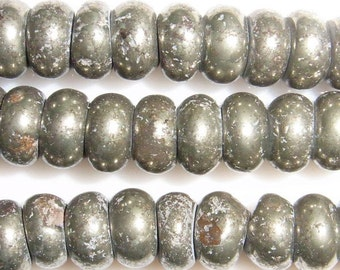 "6mm Rondelle Pyrite Beads 15""l-"