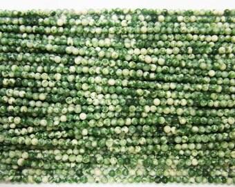 Agate Bead Natural Genuine 2mm Round Green Spot 15''L Semiprecious Gemstone Bead Wholesale Beads Supply