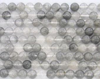 Cloudy Quartz Natural Genuine 10mm Round 5566 15''L Semiprecious Gemstone Bead Wholesale Beads Supply