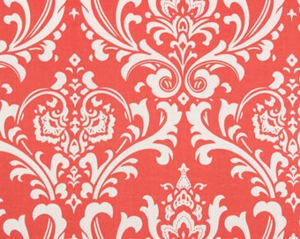 Designer Damask Fabric- Premier Prints Ozborne Coral White Damask- Fabric by the Yard- Wedding Textiles- FAST SHIP- Upholstery Fabric