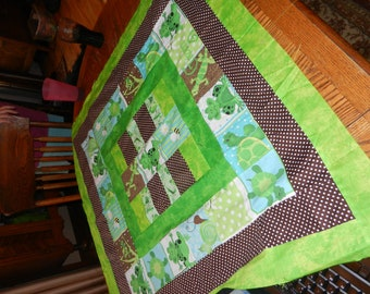 Brown, Green, Frog, Chameleon Baby Quilt Top Quilttop, Ready to Finish, Handmade, 38x38