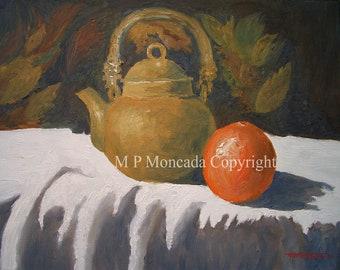Pot de th'e, Still Life, Giclee of an original oil painting ...... by M P Moncada