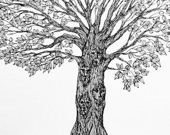Printable Tree Pen and Ink Original Drawing, Digital Art, 8x10 JPG, Download