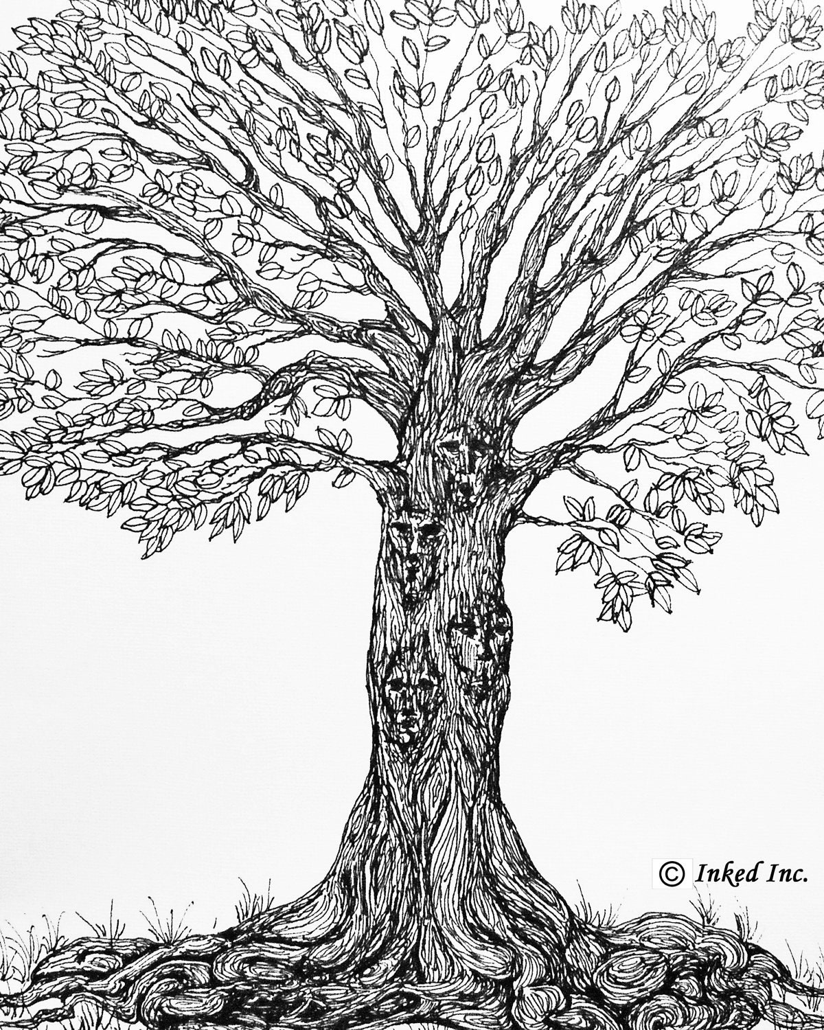 It's just an image of Tactueux Tree Pen Drawing