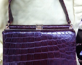 Vintage Chocolate Alligator or Croc Ladies Purse