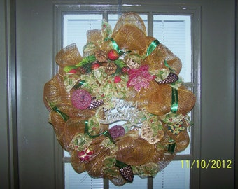 Elegant gold mesh Christmas wreath (on sale now 42 was 50)