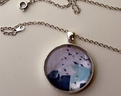 Birds Taking Flight over New York City with Glass Pendant - Fine Art Photo Necklace