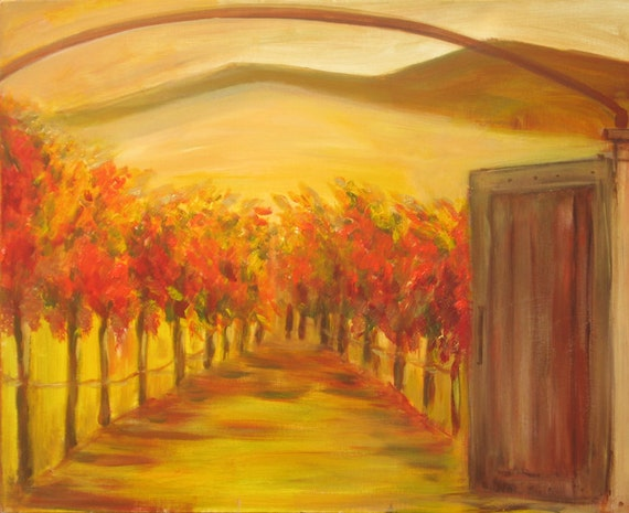 Vineyard canvas print winery painting on canvas fall colors for Wine cellar paint colors