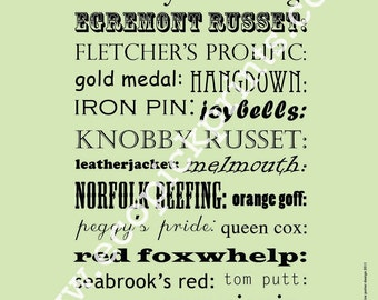 A - Z of British Apples - limited edition letterpress style print