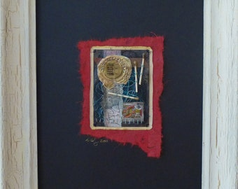 Knave of Matches-Framed Mixed Media art collage on paper