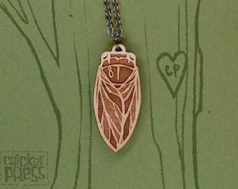 Cicada - Wood Pendant Necklace