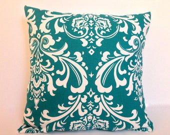 Adorable damask turquoise accent pillow cover with zipper, 16 X 16""