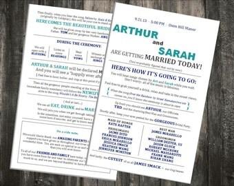 Digital - Rustic Wedding Ceremony Program - Customizable - Printable File