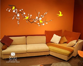 Cherry Blossom Wall Decal Etsy - Yellow bird wall decals