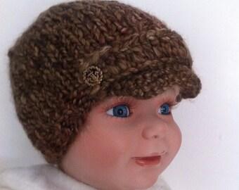 0 to 12 months baby boy visor brown hat / toddler brown hat / warmer hat / toddler boy brown hat