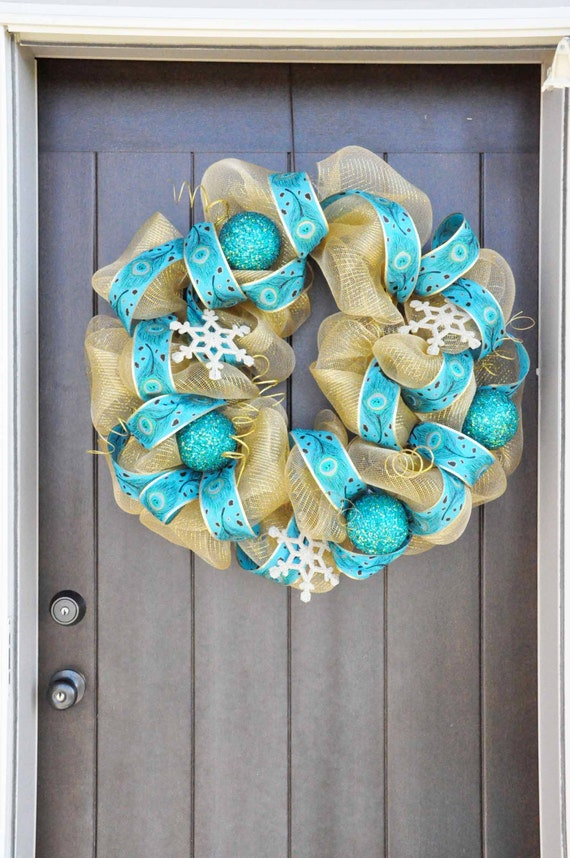 Gold and Teal Peacock Ribbon and Tulle Mesh Christmas Wreath