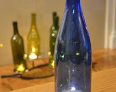 Recycled Wine Bottle Candle Topper // BLUE glass // 12 in
