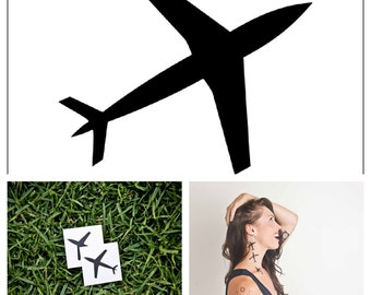Airplane - temporary tattoo (Set of 2)