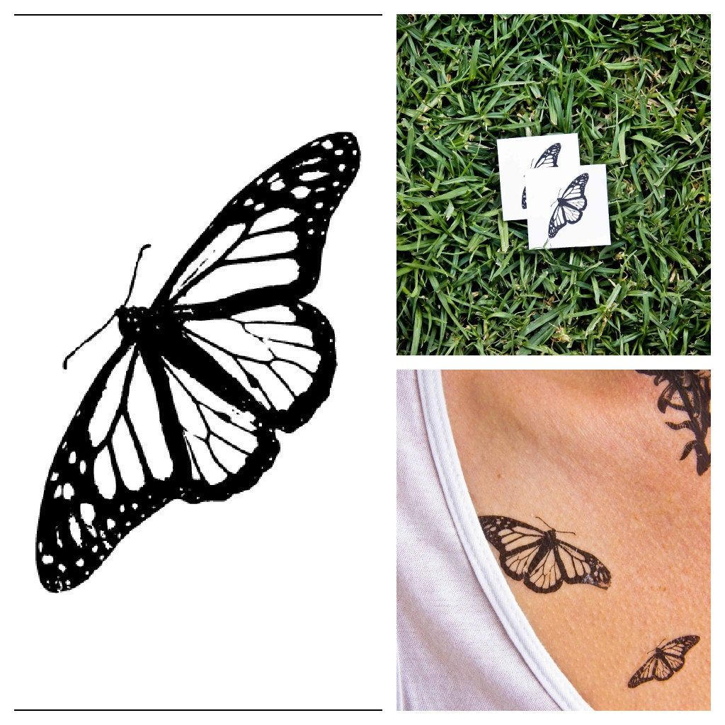 butterfly temporary tattoo set of 2. Black Bedroom Furniture Sets. Home Design Ideas