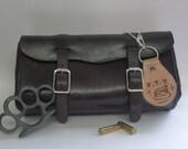 Handmade dark brown leather motorcycle fork bicycle tool bag