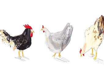 Three Chickens. Limited Edition Print by Faye Bradley