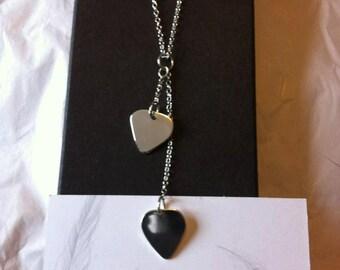 hand made silver double drop plectrum pendant