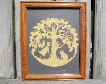 Vintage Scherenschnitte or German Paper Cutting Art Pictures -- Farm Animals In and Around a Lovely Tree