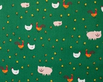 Barnyard Animals Fabric - Ed Emberley - Happy Drawing Too - Cloud 9 Organic Quilting Cotton - Half Yard