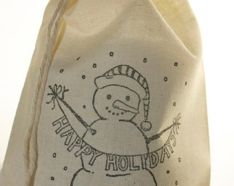 10 Snowman Holiday Gift Bags, 5x7 Cotton Muslin Favor Bags, Christmas Bags, Happy Holidays, Gift Wrap, Stocking Stuffers, Treat Bag