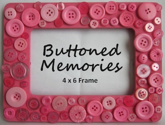 Picture Frame - Customized Pink Frame with Pink Buttons 4x6
